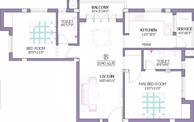Pushkar Bhagyalekha (2BHK+2T (1,040 sq ft) Apartment 1040 sq ft)