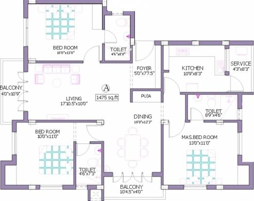 Pushkar Bhagyalekha (2BHK+3T (1,475 sq ft)   Study Room Apartment 1475 sq ft)