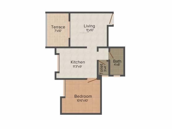 Krishnaleela Laxmi Ganga Heights (1BHK+1T (600 sq ft) Apartment 600 sq ft)