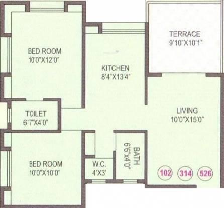 Anshul Shree Hans Garden (2BHK+2T (1,010 sq ft) Apartment 1010 sq ft)