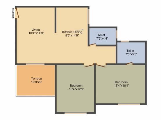 M Vijay Spring Bloom (2BHK+2T (995 sq ft) Apartment 995 sq ft)