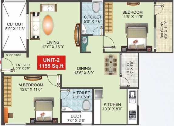 Nandana Gardenia (2BHK+2T (1,155 sq ft) Apartment 1155 sq ft)