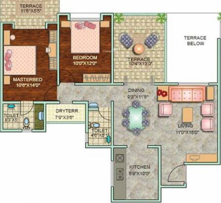 Pristine Fontana (2BHK+2T (1,082 sq ft) Apartment 1082 sq ft)