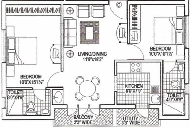 Lakshmi Ekkattuthangal (2BHK+2T (980 sq ft) Apartment 980 sq ft)
