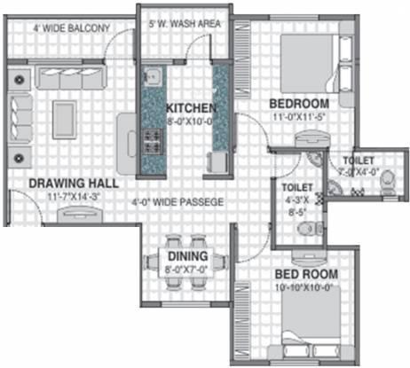 Barde Shiv Residency 3 (2BHK+2T (1,105 sq ft) Apartment 1105 sq ft)