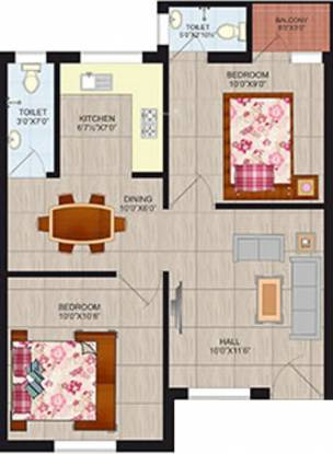 Springfield Rivera Apartments (2BHK+2T (666 sq ft) Apartment 666 sq ft)