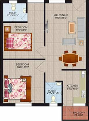 Springfield Rivera Apartments (2BHK+2T (670 sq ft) Apartment 670 sq ft)