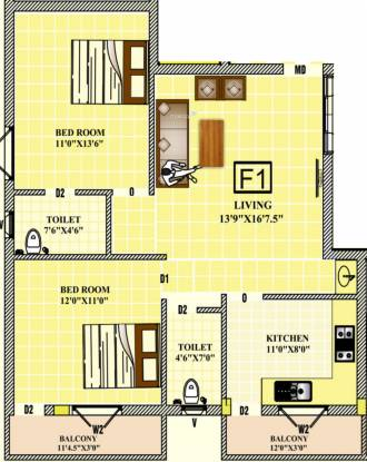 Prudential Arcade (2BHK+2T (955 sq ft) Apartment 955 sq ft)