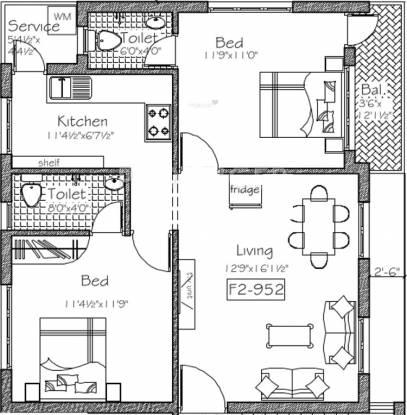 Good Mayflower (2BHK+2T (952 sq ft) Apartment 952 sq ft)
