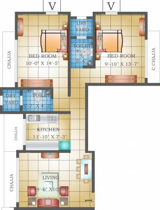 Heritage Krishna Heritage (2BHK+2T (1,023 sq ft) Apartment 1023 sq ft)