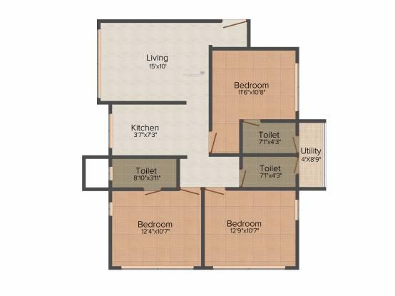 Heritage Krishna Heritage (3BHK+3T (1,500 sq ft) Apartment 1500 sq ft)