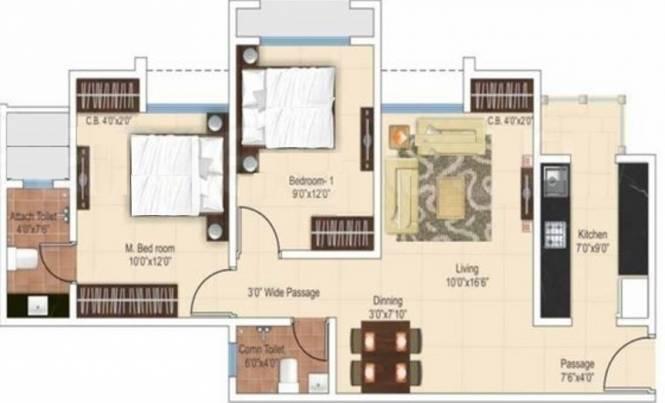 Ajmera Heritage City (2BHK+2T (927 sq ft) Apartment 927 sq ft)