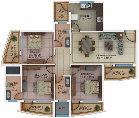 Kores Garden Enclave (3BHK+3T (1,495 sq ft) Apartment 1495 sq ft)
