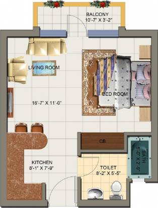 Nirala Arcade And Suites (1BHK+1T (695 sq ft) Apartment 695 sq ft)