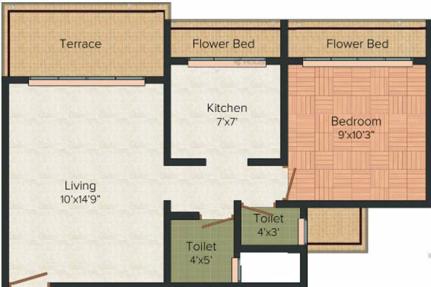RD Parvati Castle (1BHK+1T (715 sq ft) Apartment 715 sq ft)
