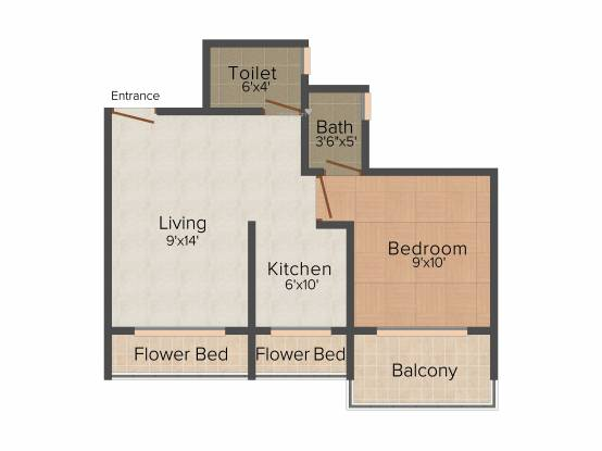 Prism Heights (1BHK+2T (690 sq ft) Apartment 690 sq ft)