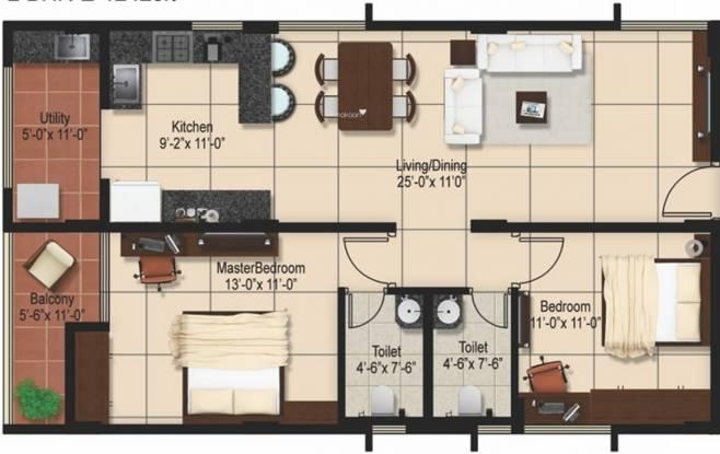 Aashrayaa Onyx (2BHK+2T (1,242 sq ft) Apartment 1242 sq ft)