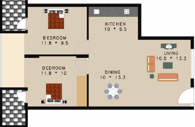 Trendz Whispering Woods (2BHK+2T (877 sq ft) Apartment 877 sq ft)