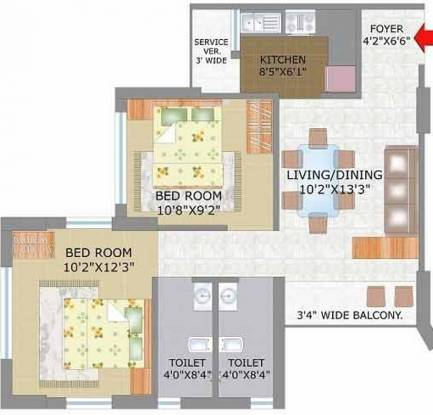 Keventer Westwind (2BHK+2T (1,163 sq ft) Apartment 1163 sq ft)