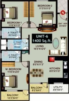 Avani Hills (3BHK+3T (1,400 sq ft) Apartment 1400 sq ft)