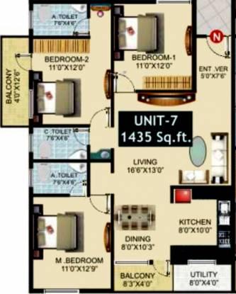 Avani Hills (3BHK+3T (1,435 sq ft) Apartment 1435 sq ft)