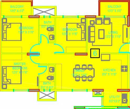 Vaishnavi Gardenia (3BHK+2T (1,446 sq ft) Apartment 1446 sq ft)