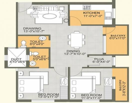 Skyline Sky Tower (2BHK+2T (1,068 sq ft) Apartment 1068 sq ft)