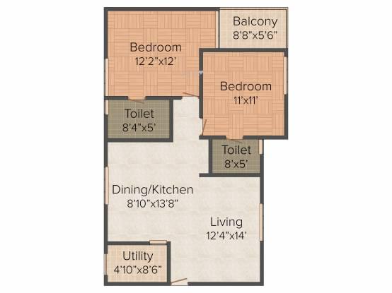 Saakara Dhaaruni Residences (2BHK+2T (1,074 sq ft)   Pooja Room Apartment 1074 sq ft)