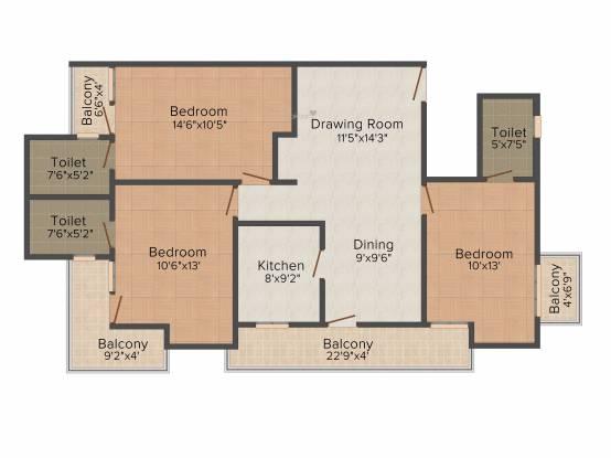 SDC Green Park (3BHK+3T (1,580 sq ft) Apartment 1580 sq ft)