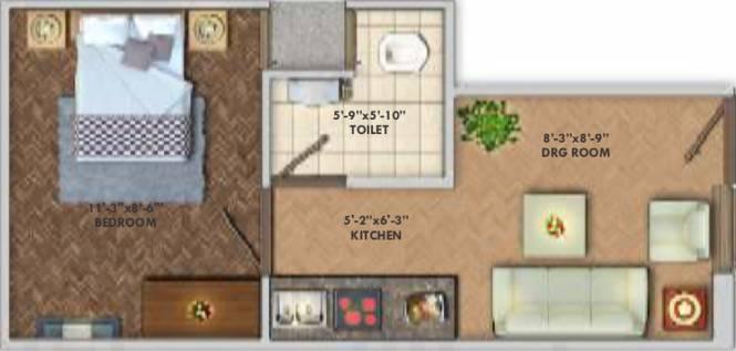 Deswal Shivalik Springs Apartments (1BHK+1T (300 sq ft) Apartment 300 sq ft)