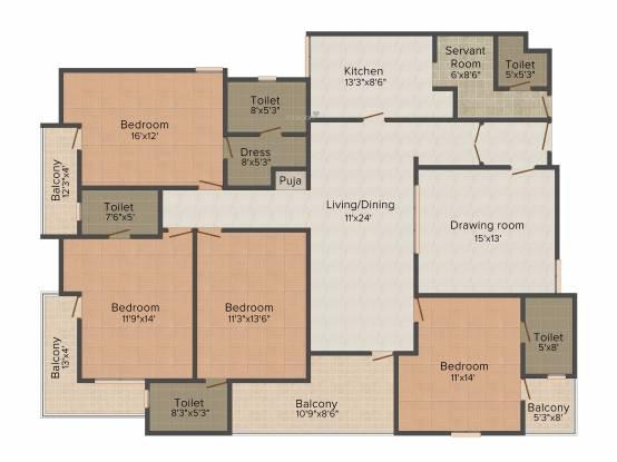 SDC Ashok Millborn (4BHK+5T (2,890 sq ft) + Servant Room Apartment 2890 sq ft)