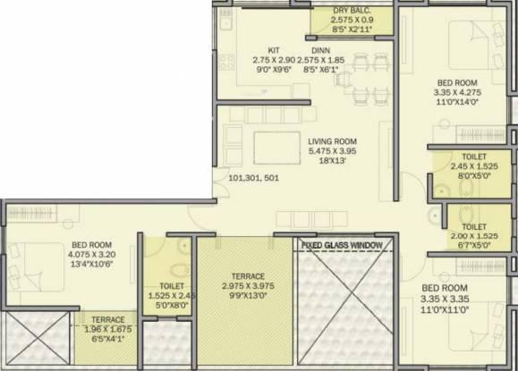 Stark Royale (3BHK+3T (1,648 sq ft) Apartment 1648 sq ft)