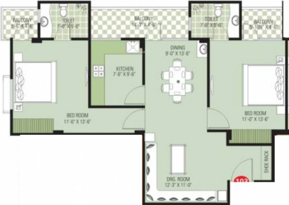 SDC Aura (2BHK+2T (1,250 sq ft) Apartment 1250 sq ft)