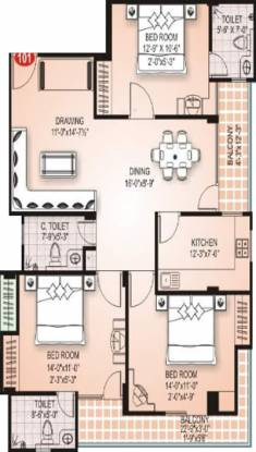 SDC Retreat (3BHK+3T (1,662 sq ft) Apartment 1662 sq ft)