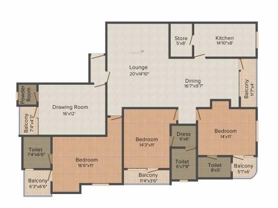 SDC Anita Enclave (3BHK+3T (2,550 sq ft) + Pooja Room Apartment 2550 sq ft)