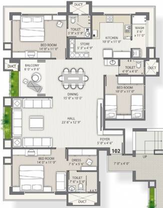 Western Water Hills Residency (3BHK+3T (2,486 sq ft) Apartment 2486 sq ft)
