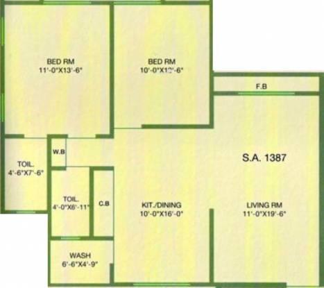 Navkar Bhagya Ratna Heights (2BHK+2T (1,387 sq ft) Apartment 1387 sq ft)