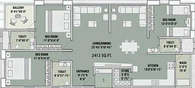 Marvella Shree Marudhar Residency (3BHK+3T (2,412 sq ft) Apartment 2412 sq ft)
