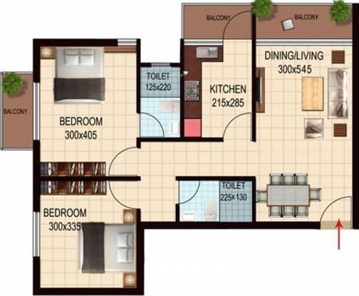 Nucleus Zephyr (2BHK+2T (931 sq ft) Apartment 931 sq ft)