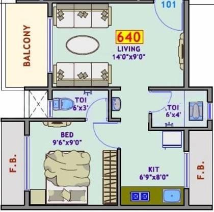 Yashraj Sai Simran (1BHK+2T (640 sq ft) Apartment 640 sq ft)