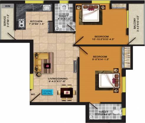 RKN Diksha Flats Phase II (2BHK+2T (825 sq ft) Apartment 825 sq ft)