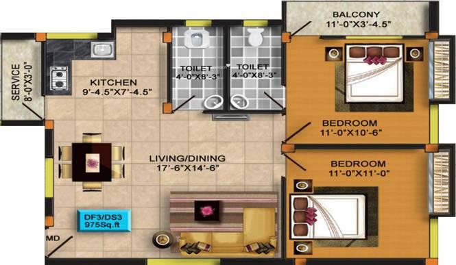 RKN Diksha Flats Phase II (2BHK+2T (975 sq ft) Apartment 975 sq ft)