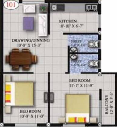 Roshan Elegant (2BHK+2T (893 sq ft) Apartment 893 sq ft)