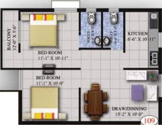 Roshan Elegant (2BHK+2T (908 sq ft) Apartment 908 sq ft)