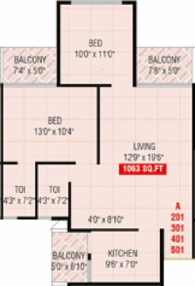 Prakruti Sigma (2BHK+2T (1,063 sq ft) Apartment 1063 sq ft)