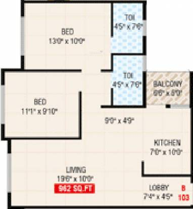 Prakruti Sigma (2BHK+2T (942 sq ft) Apartment 942 sq ft)
