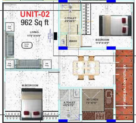 Epitome Comforts (2BHK+2T (962 sq ft) Apartment 962 sq ft)
