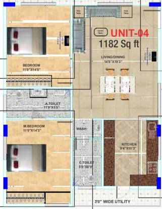 Epitome Comforts (2BHK+2T (1,182 sq ft) Apartment 1182 sq ft)