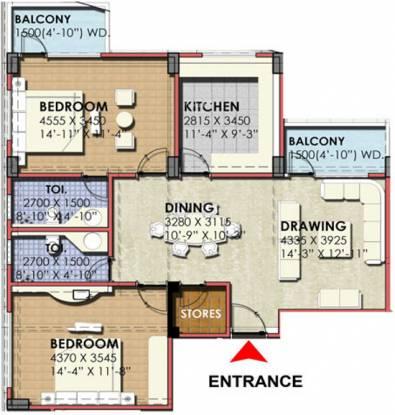 G R Park Royal Apartment (2BHK+2T (1,214 sq ft) Apartment 1214 sq ft)