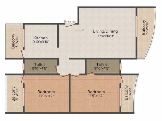 Adwalpalkar Eleganza (2BHK+2T (1,345 sq ft) Apartment 1345 sq ft)